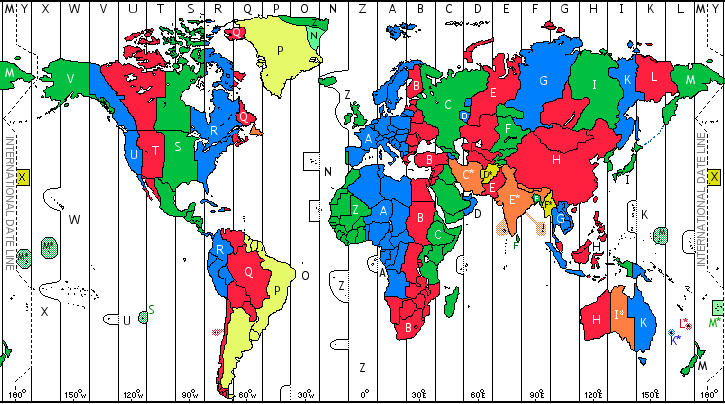 time zone map. Time at location (Zulu +0hr)